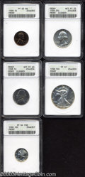 1938 Proof Set PR55 to PR64 ANACS. The set includes: 1938 1C Cent PR63 Red and Brown ANACS, bright apple-green and ruby...
