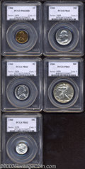 1940 Proof Set PR62 to PR65 PCGS. The set includes: 1940 1C Cent PR63 Red and Brown PCGS, vibrantly toned in ruby-red...