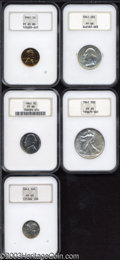 1941 Proof Set PR65 to PR66 NGC. This set includes 1941 1C Cent PR65 Red NGC, full blazing red color with just the slig...