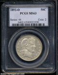 Barber Half Dollars, 1892-O 50C MS63 PCGS. The 1892-O is a popular, first-year ...