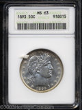 1893 50C MS63 ANACS. Fully struck with satiny mint brilliance and some subtle golden color at the borders. A nice type c...