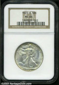 1921-S 50C MS66 NGC. While mintage figures for the Walking Liberty half dollar remained high through 1918, the end of Wo...