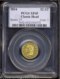 1834 $2 1/2 Classic XF45 PCGS. Breen-6138, Small Head, R.2. An exquisitely struck first year type coin with bright luste...