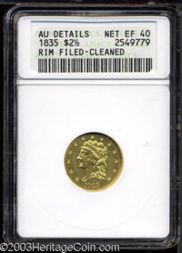1835 $2 1/2 --Rim Filed, Cleaned--ANACS. AU Details, Net XF40. McCloskey-1, R.2. The AM in AMERICA is widely spaced; a r...