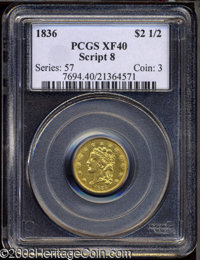 1836 $2 1/2 Script 8 XF40 PCGS. McCloskey-D, Head of 1835, Breen-6143, R.2. Glimpses of luster illuminate the stars and...