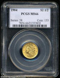 1904 $2 1/2 MS66 PCGS. Sharply struck and highly lustrous with smooth, even coloration and well preserved, nearly mark-f...