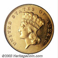 Proof Three Dollar Gold Pieces: , 1877 $3 PR61 Cameo PCGS. Much underrated in comparison to ...
