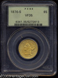 Liberty Half Eagles: , 1876-S $5 VF35 PCGS. Lustrous and unmarked for the grade, ...