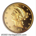 Proof Liberty Half Eagles: , 1883 $5 PR65 PCGS. Ex: Eliasberg. A very rare proof date ...