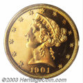 1901 $5 PR65 Cameo PCGS. A very pleasing, Gem 1901 proof half eagle. Only 140 proofs were struck in this year, and few o...