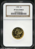 Proof Liberty Half Eagles, 1903 $5 PR64 Cameo NGC. A glittering near-Gem proof, with ...