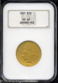 Proof Indian Eagles: , 1911 $10 PR67 NGC. An impeccable Matte Proof Ten Dollar ...