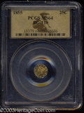 California Fractional Gold: , 1855 25C Liberty Octagonal 25 Cents, BG-110, High R.4, MS64 ...