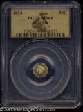 California Fractional Gold: , 1854 50C Liberty Octagonal 50 Cents, BG-308, R.4, MS64 PCGS....