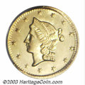California Fractional Gold: , 1853 50C Liberty Round 50 Cents, BG-428, R.3, MS65 PCGS. ...
