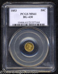 California Fractional Gold: , 1853 50C Liberty Round 50 Cents, BG-430, R.3, MS61 PCGS. ...
