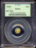 California Fractional Gold: , 1864 25C Liberty Octagonal 25 Cents, BG-706, High R.5, MS63 ...