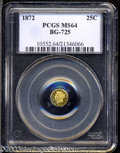 California Fractional Gold: , 1872 25C Liberty Octagonal 25 Cents, BG-725, High R.5, MS64 ...