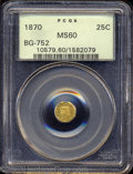 California Fractional Gold: , 1870 25C Liberty Octagonal 25 Cents, BG-752, Low R.5, MS60 ...