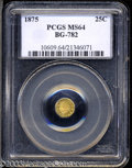 California Fractional Gold: , 1875 25C Indian Octagonal 25 Cents, BG-782, High R.5, MS64 ...