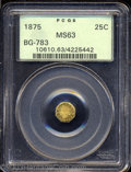 California Fractional Gold: , 1875 25C Indian Octagonal 25 Cents, BG-783, R.5, MS63 PCGS.