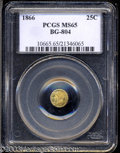 California Fractional Gold: , 1866 25C Liberty Round 25 Cents, BG-804, R.4, MS65 PCGS. ...