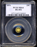 California Fractional Gold: , 1876 25C Indian Round 25 Cents, BG-852, High R.5, MS64 PCGS....