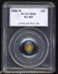 California Fractional Gold: , 1880/76 25C Indian Round 25 Cents, BG-885, R.3, MS65 PCGS.