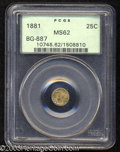 California Fractional Gold: , 1881 25C Indian Round 25 Cents, BG-887, R.3, MS62 PCGS. A ...