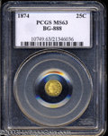 California Fractional Gold: , 1874 25C Indian Round 25 Cents, BG-888, Low R.5, MS63 PCGS.