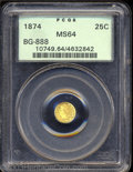 California Fractional Gold: , 1874 25C Indian Round 25 Cents, BG-888, Low R.5, MS64 PCGS.