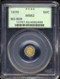 California Fractional Gold: , 1870 50C Liberty Octagonal 50 Cents, BG-909, R.6, MS62 PCGS....