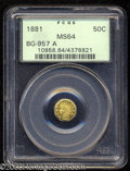 California Fractional Gold: , 1881 50C Indian Octagonal 50 Cents, BG-957A, Low R.6, MS64 ...