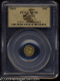 California Fractional Gold: , 1869 50C Liberty Round 50 Cents, BG-1021, High R.6, AU58 ...
