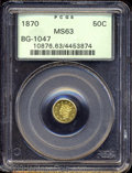 California Fractional Gold: , 1870 50C Liberty Round 50 Cents, BG-1047, High R.4, MS63 ...