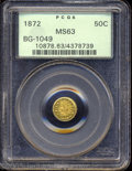 California Fractional Gold: , 1872 50C Indian Round 50 Cents, BG-1049, R4, MS63 PCGS. ...
