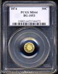California Fractional Gold: , 1874 50C Indian Round 50 Cents, BG-1053, High R.5, MS64 ...
