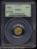 Commemorative Gold: , 1903 G$1 Louisiana Purchase/McKinley MS63 PCGS. Well ...