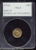 Commemorative Gold: , 1916 G$1 McKinley MS63 PCGS. Sharply struck and satiny, ...