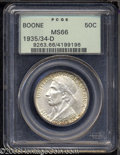 Commemorative Silver: , 1935/34-D 50C Boone MS66 PCGS. Both sides exhibit an ...