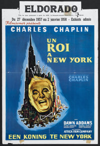 "A King in New York (Archway, 1957). Belgian (14"" X 22""). Comedy/Drama. Starring Charlie Chaplin, Dawn Addams..."