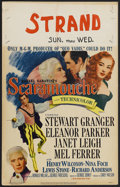 """Movie Posters:Adventure, Scaramouche (MGM, 1952). Window Card (14"""" X 22""""). Adventure. Starring Stewart Granger, Eleanor Parker, Janet Leigh and Mel F..."""