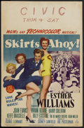 "Movie Posters:Comedy, Skirts Ahoy! (MGM, 1952). Window Card (14"" X 22""). Comedy. Starring Esther Williams, Joan Evans, Vivian Blaine and Barry Sul..."