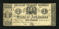 Obsoletes By State:Arkansas, (Little Rock), AR- Treasury Warrant $1 May 4, 1862 Criswell 30. This note is of the green back variety. Fine....
