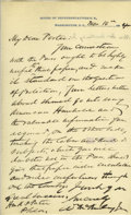 """Autographs:U.S. Presidents, William McKinley Autograph Letter Signed A.L.S. """"W McKinley""""of House of Representatives letterhead, 1p., 5.5"""" x 9"""", [Wa..."""