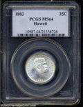 Coins of Hawaii, 1883 25C Hawaii Quarter MS64 PCGS. A brilliant and highly ...