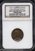 Errors: , 1919 1C Cent--Broadstruck with Obverse Indent--MS63 Brown ...
