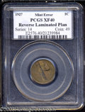 1927 1C Cent--Reverse Laminated Planchet--XF40 PCGS. The obverse has a normal, lightly circulated tan appearance. The re...
