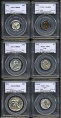 A six-piece 1942 Proof Set PR64 PCGS. The set includes: 1942 Cent PR64 Red and Brown, well struck with lovely orange, re...