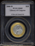2000-W $10 Library of Congress MS69 PCGS. Nearly perfect, this is a pleasing example of our only national bi-metallic is...